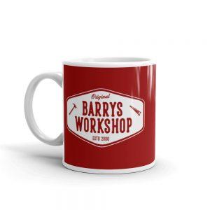 Barry's Workshop Mug – White Logo on Red