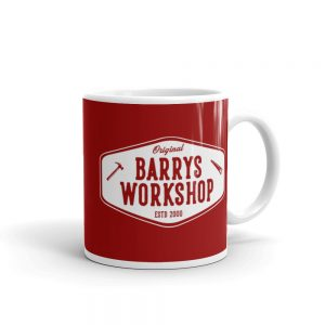 Barry's Workshop Mug – White Logo on Red