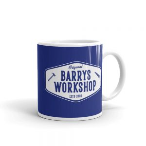 Barry's Workshop Mug – White Logo on Blue