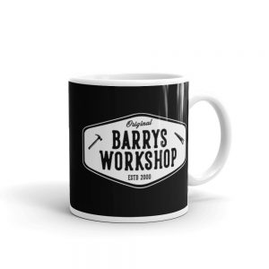 Barry's Workshop Mug – White Logo on Black